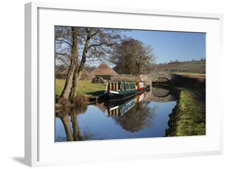 Barges on the Monmouthshire and Brecon Canal-Stuart Black-Framed Art Print