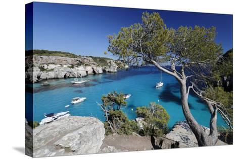 Yachts Anchored in Cove, Cala Macarella, Near Cala Galdana-Stuart Black-Stretched Canvas Print