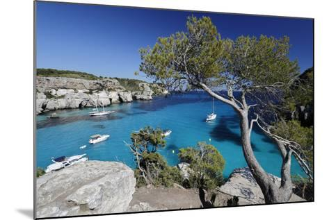 Yachts Anchored in Cove, Cala Macarella, Near Cala Galdana-Stuart Black-Mounted Photographic Print