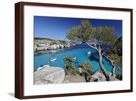 Yachts Anchored in Cove, Cala Macarella, Near Cala Galdana-Stuart Black-Framed Art Print