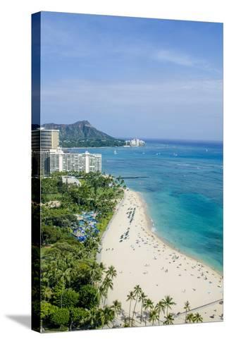 Waikiki Beach and Diamond Head, Waikiki, Honolulu, Oahu, Hawaii, United States of America, Pacific-Michael DeFreitas-Stretched Canvas Print
