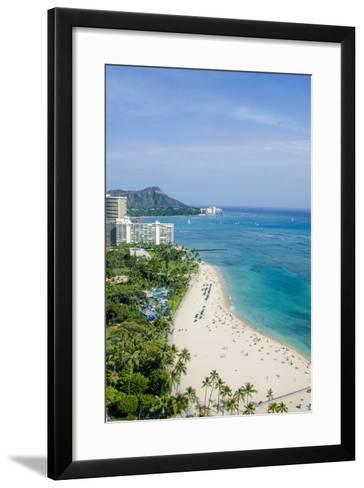 Waikiki Beach and Diamond Head, Waikiki, Honolulu, Oahu, Hawaii, United States of America, Pacific-Michael DeFreitas-Framed Art Print