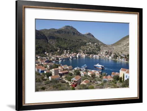 View of Harbour, Kastellorizo (Meis), Dodecanese, Greek Islands, Greece, Europe-Stuart Black-Framed Art Print