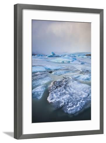 Frozen Icebergs in the Frozen Waters of Fjallsarlon Glacier Lagoon, South East Iceland, Iceland-Neale Clark-Framed Art Print