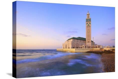 Exterior of Hassan Ll Mosque and Coastline at Dusk, Casablanca, Morocco, North Africa, Africa-Neil Farrin-Stretched Canvas Print