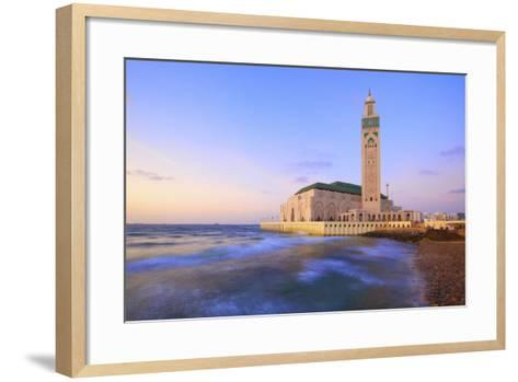 Exterior of Hassan Ll Mosque and Coastline at Dusk, Casablanca, Morocco, North Africa, Africa-Neil Farrin-Framed Art Print