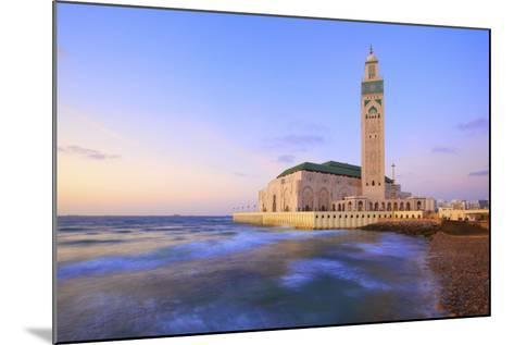 Exterior of Hassan Ll Mosque and Coastline at Dusk, Casablanca, Morocco, North Africa, Africa-Neil Farrin-Mounted Photographic Print