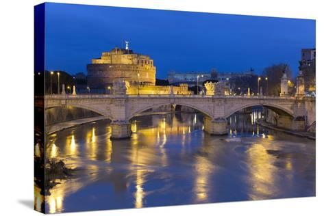 Castel Sant'Angelo and Ponte Vittorio Emanuelle Ii on the River Tiber at Night, Rome, Lazio, Italy-Stuart Black-Stretched Canvas Print