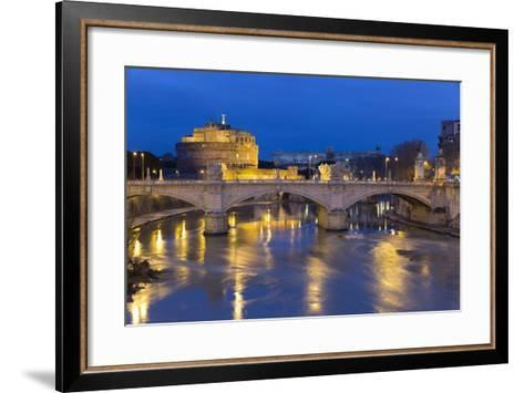 Castel Sant'Angelo and Ponte Vittorio Emanuelle Ii on the River Tiber at Night, Rome, Lazio, Italy-Stuart Black-Framed Art Print