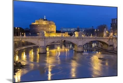 Castel Sant'Angelo and Ponte Vittorio Emanuelle Ii on the River Tiber at Night, Rome, Lazio, Italy-Stuart Black-Mounted Photographic Print