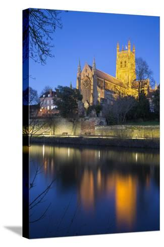 Worcester Cathedral on the River Severn Floodlit at Dusk, Worcester, Worcestershire, England, UK-Stuart Black-Stretched Canvas Print