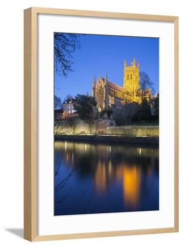 Worcester Cathedral on the River Severn Floodlit at Dusk, Worcester, Worcestershire, England, UK-Stuart Black-Framed Art Print