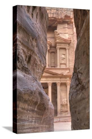The Treasury as Seen from the Siq, Petra, Jordan, Middle East-Richard Maschmeyer-Stretched Canvas Print