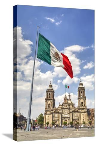 Mexican Flag, Plaza of the Constitution (Zocalo), Metropolitan Cathedral in Background-Richard Maschmeyer-Stretched Canvas Print