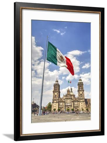 Mexican Flag, Plaza of the Constitution (Zocalo), Metropolitan Cathedral in Background-Richard Maschmeyer-Framed Art Print