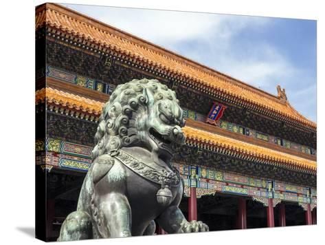 Bronze Chinese Lion (Female) Guards the Entry to the Palace Buildings-Gavin Hellier-Stretched Canvas Print