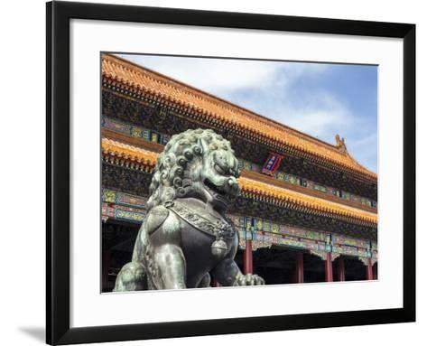 Bronze Chinese Lion (Female) Guards the Entry to the Palace Buildings-Gavin Hellier-Framed Art Print