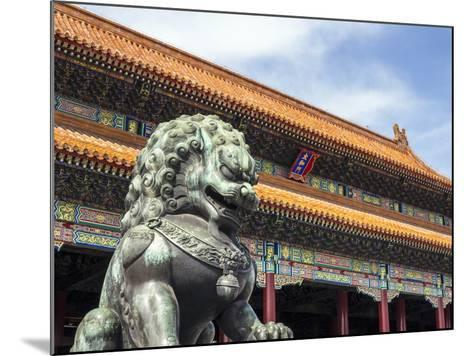 Bronze Chinese Lion (Female) Guards the Entry to the Palace Buildings-Gavin Hellier-Mounted Photographic Print