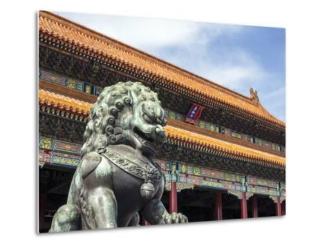Bronze Chinese Lion (Female) Guards the Entry to the Palace Buildings-Gavin Hellier-Metal Print