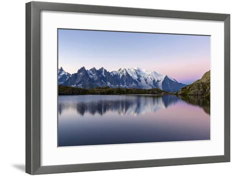 Mont Blanc Reflected During Twilight in Lac Des Cheserys, Haute Savoie, French Alps, France-Roberto Moiola-Framed Art Print
