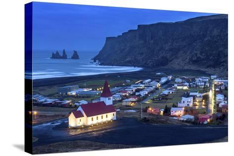Twilight View across the Small Town of Vik, South Iceland, Iceland, Polar Regions-Chris Hepburn-Stretched Canvas Print
