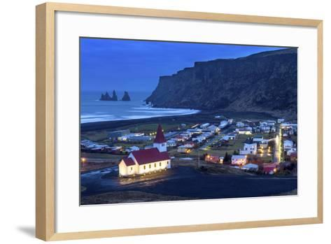 Twilight View across the Small Town of Vik, South Iceland, Iceland, Polar Regions-Chris Hepburn-Framed Art Print