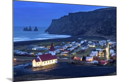 Twilight View across the Small Town of Vik, South Iceland, Iceland, Polar Regions-Chris Hepburn-Mounted Photographic Print