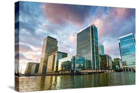 Canary Wharf at Dusk, Docklands, London, England, United Kingdom, Europe-Chris Hepburn-Stretched Canvas Print