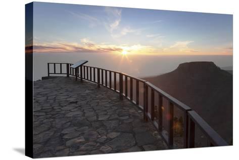 View from Mirador De Igualero over Barranco Del Erque to Table Mountain Fortaleza-Markus Lange-Stretched Canvas Print