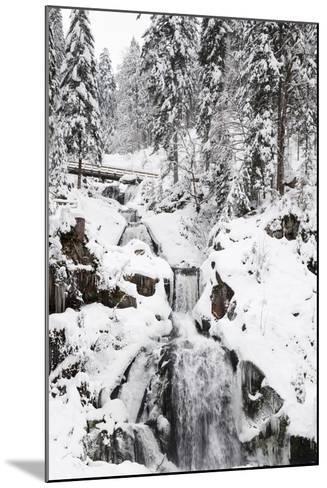 Triberg Waterfalls in Winter, Triberg, Black Forest, Baden-Wurttemberg, Germany, Europe-Markus Lange-Mounted Photographic Print
