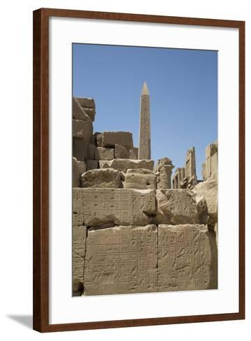 Hierogyliphics in Foreground, Obelisk of Tuthmosis in the Background, Karnak Temple-Richard Maschmeyer-Framed Art Print