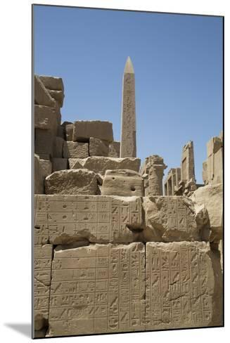 Hierogyliphics in Foreground, Obelisk of Tuthmosis in the Background, Karnak Temple-Richard Maschmeyer-Mounted Photographic Print
