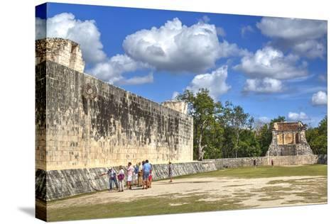 Tourists with Guide, the Grand Ball Courrt (Gran Juego De Pelota), Chichen Itza-Richard Maschmeyer-Stretched Canvas Print