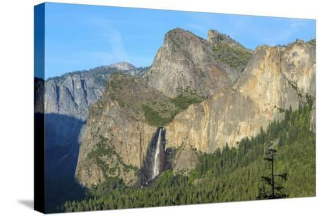 Cathedral Rocks East and Bridalveil Fall from Tunnel View in Yosemite National Park-Chris Hepburn-Stretched Canvas Print