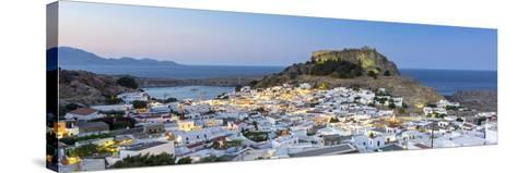 White Rooftops of Lindos with the Acropolis of Lindos, Rhodes, Dodecanese, Greek Islands, Greece-Chris Hepburn-Stretched Canvas Print