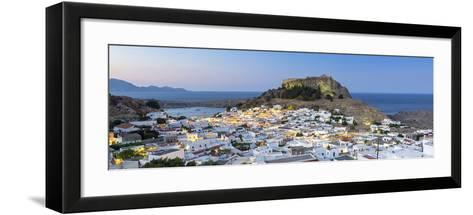 White Rooftops of Lindos with the Acropolis of Lindos, Rhodes, Dodecanese, Greek Islands, Greece-Chris Hepburn-Framed Art Print