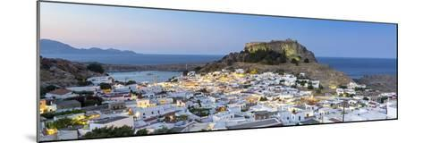 White Rooftops of Lindos with the Acropolis of Lindos, Rhodes, Dodecanese, Greek Islands, Greece-Chris Hepburn-Mounted Photographic Print