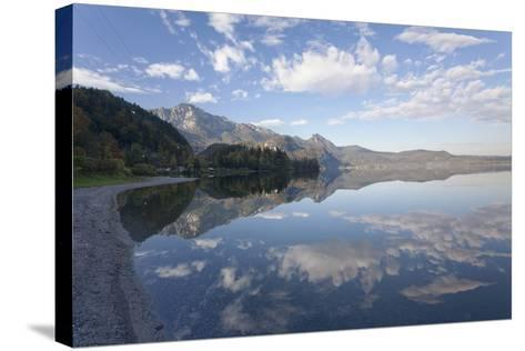 Heimgarten Mountain and Herzogstand Mountain Reflecting in Kochelsee Lake, Bavarian Alps-Markus Lange-Stretched Canvas Print