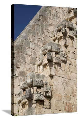 Chac Rain God Stone Masks, Pyramid of the Magician, Uxmal-Richard Maschmeyer-Stretched Canvas Print
