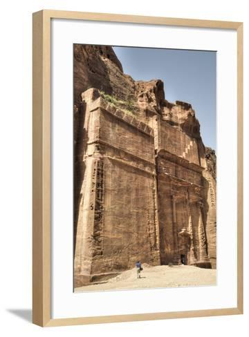 Tourists in Front of Facade, the Street of Facades, Petra, Jordan, Middle East-Richard Maschmeyer-Framed Art Print