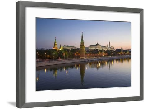 Kremlin Churches and Towers from Moscow River Bridge, Moscow, Russia-Gavin Hellier-Framed Art Print