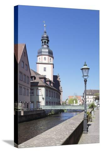 River Alb and Town Hall, Ettlingen, Baden-Wurttemberg, Germany-Markus Lange-Stretched Canvas Print