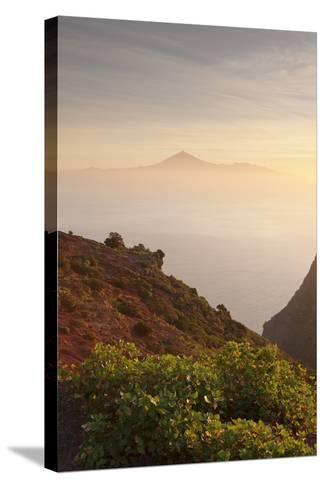 View from Gomera to Tenerife with Teide Volcano at Sunrise, Canary Islands, Spain, Atlantic, Europe-Markus Lange-Stretched Canvas Print