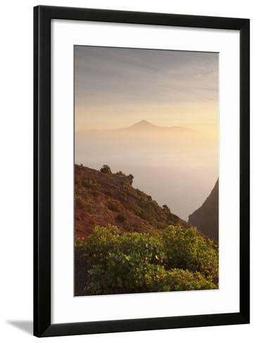View from Gomera to Tenerife with Teide Volcano at Sunrise, Canary Islands, Spain, Atlantic, Europe-Markus Lange-Framed Art Print