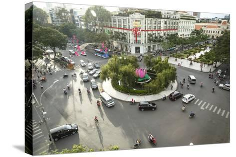 Traffic Intersection Nguyen Hue Boulevard and Le Loi Boulevard, Ho Chi Minh City (Saigon), Vietnam-Yadid Levy-Stretched Canvas Print
