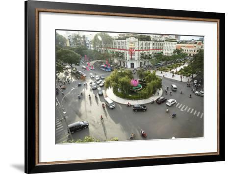 Traffic Intersection Nguyen Hue Boulevard and Le Loi Boulevard, Ho Chi Minh City (Saigon), Vietnam-Yadid Levy-Framed Art Print