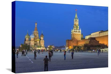 St. Basils Cathedral and the Kremlin in Red Square, Moscow, Russia-Gavin Hellier-Stretched Canvas Print