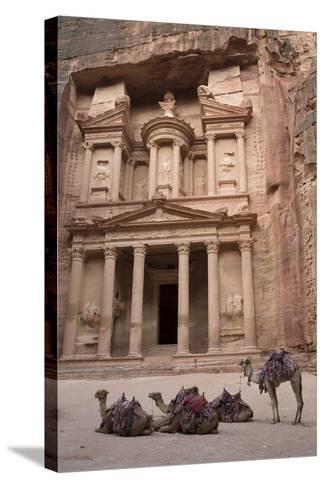 Camels in Front of the Treasury, Petra, Jordan, Middle East-Richard Maschmeyer-Stretched Canvas Print