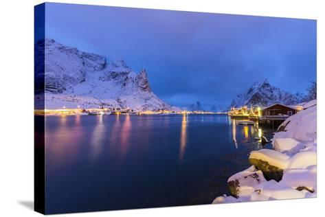 Blue Hour in the Small Bay of Reine-Roberto Moiola-Stretched Canvas Print