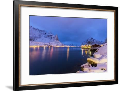 Blue Hour in the Small Bay of Reine-Roberto Moiola-Framed Art Print